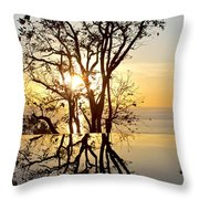 Sunset Silhouette And Reflections Throw Pillow