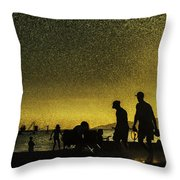 Sunset Silhouette Of People At The Beach Throw Pillow