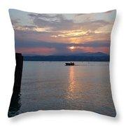 Sunset. Sirmione. Lago Di Garda Throw Pillow