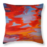 Ruby Red Sunset Throw Pillow