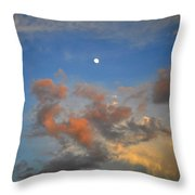 Sunset Sky With Gibbous Moon And Clouds Usa Throw Pillow