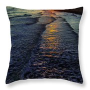 Sunset Surf Throw Pillow by Perry Webster