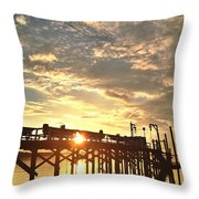Sunset Through Pier Throw Pillow