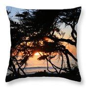 Sunset Through The Cypress Trees Cambria Throw Pillow