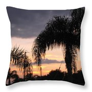 Sunset Through The Palms Throw Pillow