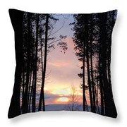 Sunset Through The Pines Throw Pillow
