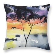 Sunset Tree Koh Chang Thailand Throw Pillow