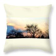 Sunset Tree Silhouettes Throw Pillow