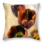 Sunset Tulips Throw Pillow