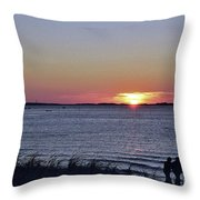 Sunset Walk Along The Beach Throw Pillow