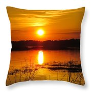 Sunset Walk In The Water Throw Pillow