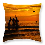 Sunset Water Football Throw Pillow