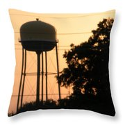 Sunset Water Tower Throw Pillow