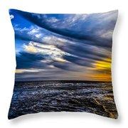 Sunset With Blue Sky Throw Pillow