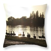 Sunset With Geese On The Thames Throw Pillow