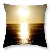 Sunset With Its Golden White Throw Pillow