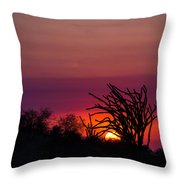 Sunset With Octopus Tree Throw Pillow
