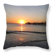 Fishingpier Sunset Throw Pillow