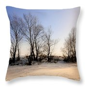 Sunset With Star And Snow Throw Pillow