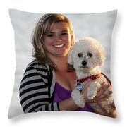 Sunset With Young American Woman And Poodle Throw Pillow