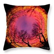 Sunset World Of Trees Throw Pillow