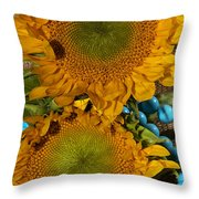 Sunshine And Turquoise  Throw Pillow