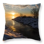 Sunshine On The Ice - Lake Ontario Toronto Canada Throw Pillow