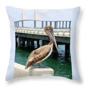 Sunshine Skyway And Pelican Throw Pillow by Carol Groenen