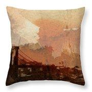 Sunsrise Over Brooklyn Bridge Throw Pillow