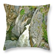 Sunwapta Falls Along  Icefields Parkway In Alberta Throw Pillow