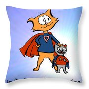 Super Dad And Daughter Throw Pillow by Pet Serrano