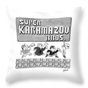 Super Karamazov Bros. -- A Parody Of Mario Throw Pillow by Tom Toro