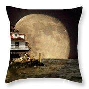 Super Moon Lighthouse Throw Pillow