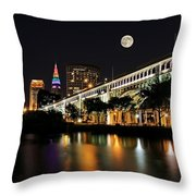 Super Moon Over Cleveland Throw Pillow