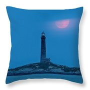 Super Moon Over Thacher Twin Lights Throw Pillow