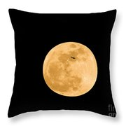 Super Moon With Airliner Silhouette Throw Pillow