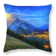 Super Moonrise Over Banff Throw Pillow