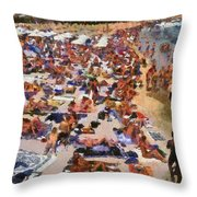 Super Paradise Beach In Mykonos Island Throw Pillow
