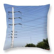 Super Power Pole And Wires Throw Pillow