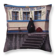 Super Taxi Stand Throw Pillow