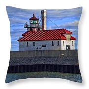 Superior And Duluth Harbor Lighthouse Throw Pillow