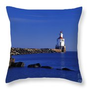 Superior South Lighthouse - Fm000036 Throw Pillow