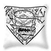Superman And Doomsday Pen And Ink Throw Pillow