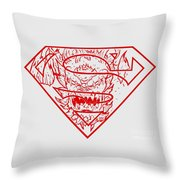 Superman And Doomsday Red Throw Pillow