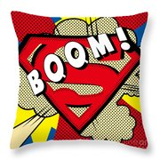 Superman Boom  Throw Pillow
