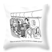 Superman Sits In A Plane Next To A Businessman Throw Pillow