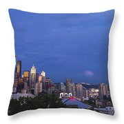 Supermoon Moonrise Over Seattle Skyline Throw Pillow
