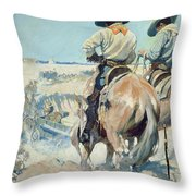 Supply Wagons Throw Pillow by Newell Convers Wyeth