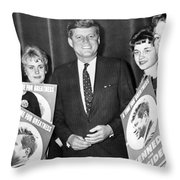 Supporters Greet Kennedy Throw Pillow