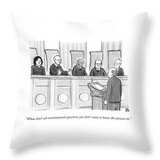 Supreme Court Justices Say To A Man Approaching Throw Pillow by Paul Noth